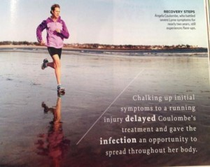 Runner's World Magazine Photo of Angela Coulombe running on beach